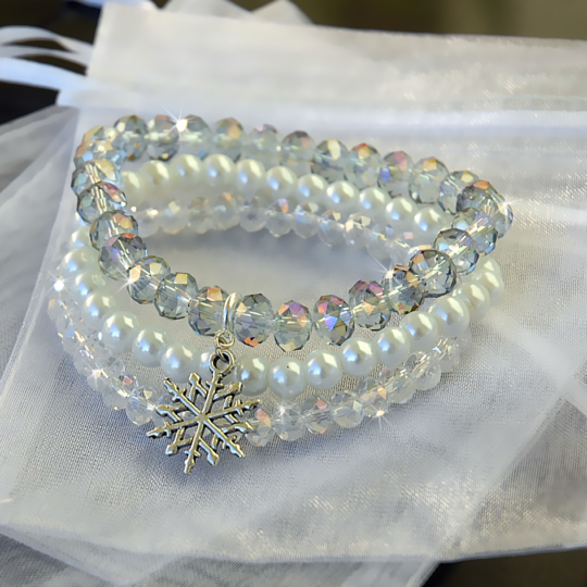 Armbandset — Kristall-/Schneefarben