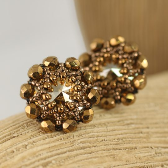 Earrings - Swarovski Studs - Beaded - Gold