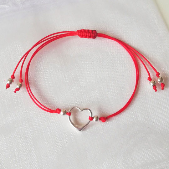 "Armband ""FOR LUCK"" — Rote Kordel/Silbernes Herz"
