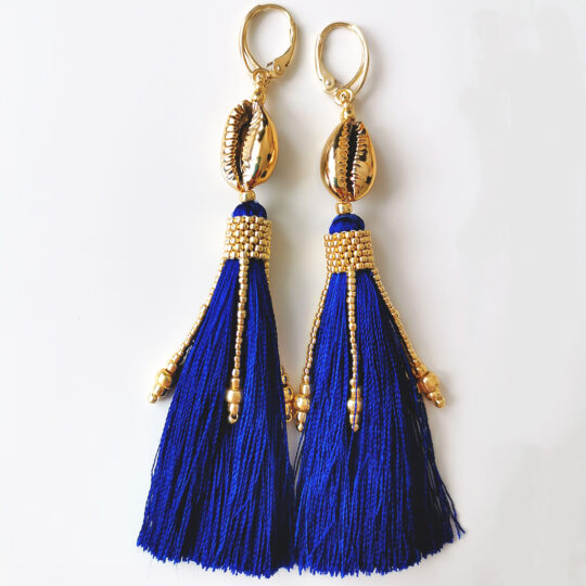 Long Earrings BOHO - Black Tassels GOLD  (Kopia) (Kopia)