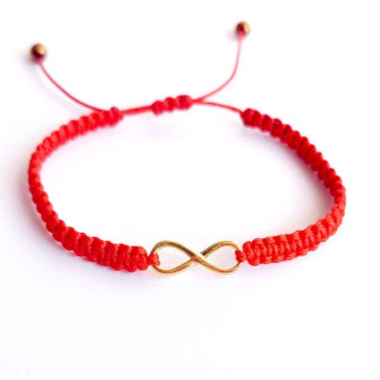 Bransoletka Czerwona NIESKOŃCZONOŚĆ Złota -Infinity
