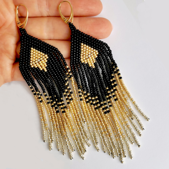 BOHO earrings gold black pane