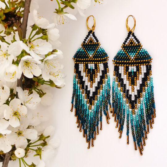 Boho Earrings - Gold and Brown - Gold-plated Silver (Kopia) (Kopia) (Kopia)