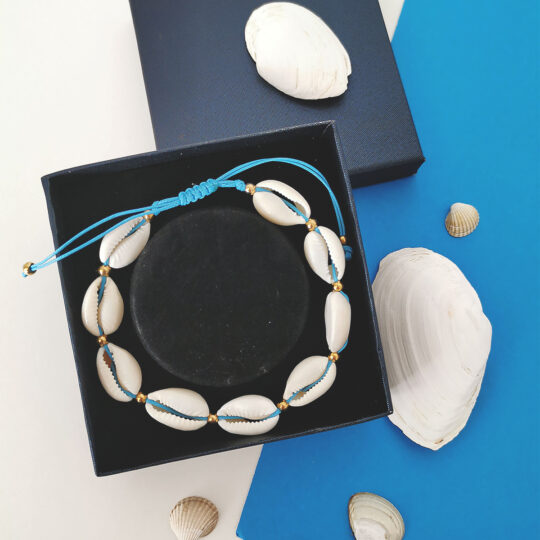 Kauri Shells Bracelet blue cord - HIT