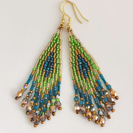 Boho Earrings - Gold and Brown - Gold-plated Silver (Kopia) (Kopia)