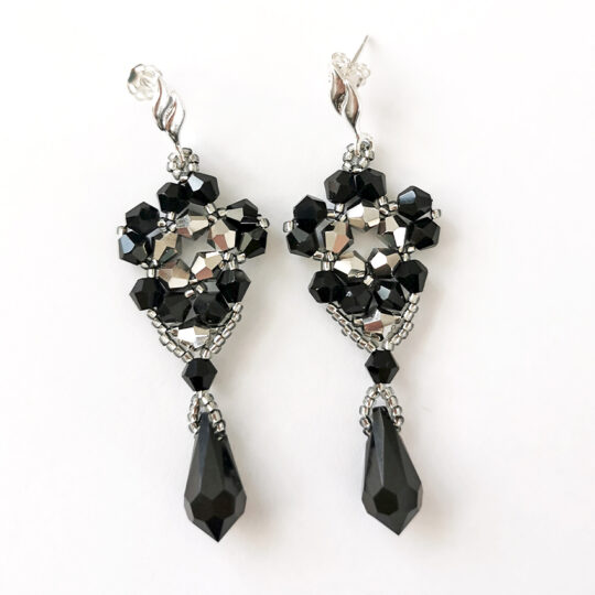 Set Earrings and Pendant - Black and Silver Flowers - Sterling Silver (Kopia)