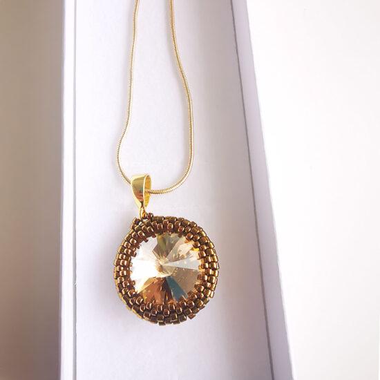 Beaded Swarovski Necklace – Dark Silver (Kopia)