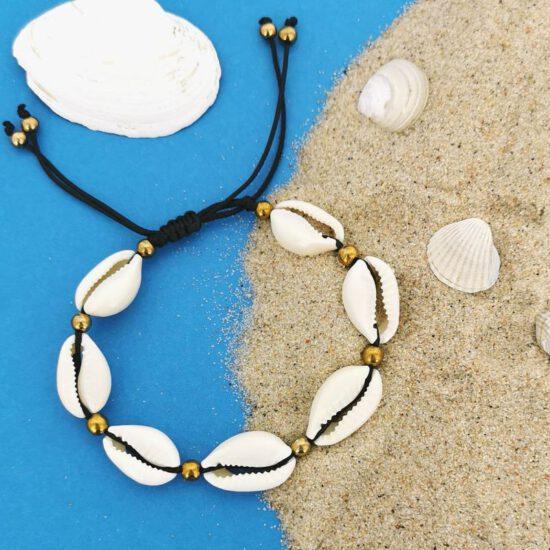 Kauri Shells Bracelet black cord and silver balls - HIT (Kopia)