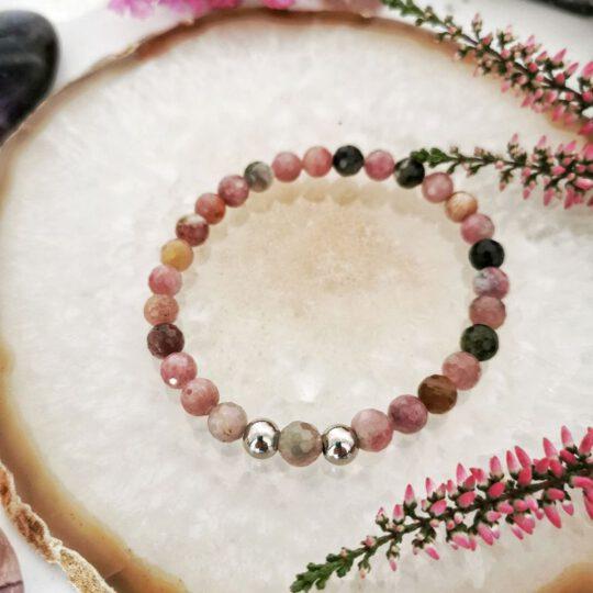 Браслет розовый кварц  - серебряный (Kopia)