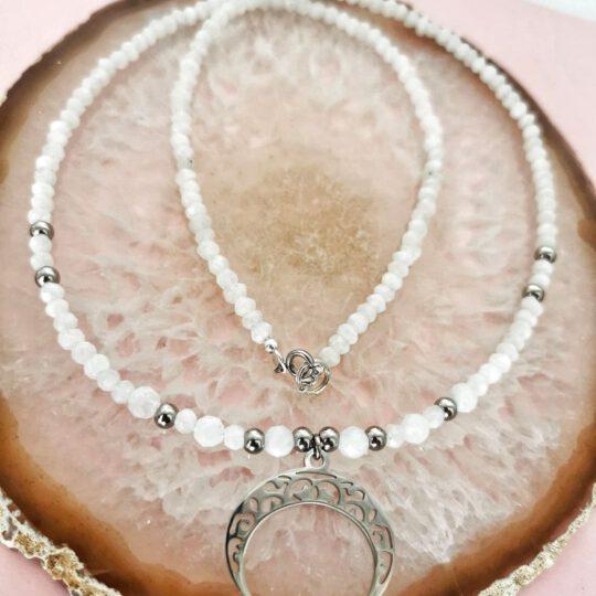 Halskette Milchquarz/Silber  (Kopia) (Kopia)